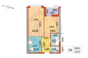 ЖК Курнатовського: планування 2-кімнатної квартири 45.53 м²