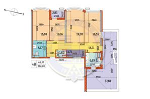 ЖК Курнатовського: планування 4-кімнатної квартири 112.98 м²