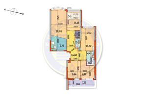 ЖК Курнатовського: планування 5-кімнатної квартири 96.13 м²