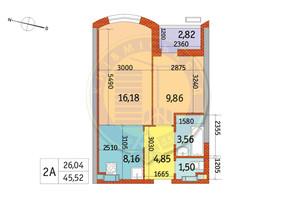 ЖК Курнатовського: планування 2-кімнатної квартири 45.52 м²