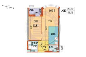 ЖК Курнатовського: планування 2-кімнатної квартири 46.41 м²