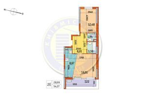 ЖК Курнатовського: планування 2-кімнатної квартири 54.27 м²