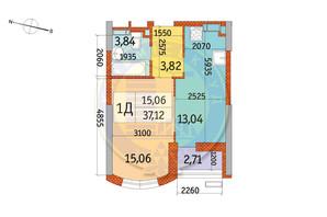 ЖК Курнатовського: планування 1-кімнатної квартири 37.12 м²
