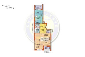 ЖК Курнатовського: планування 2-кімнатної квартири 59.65 м²