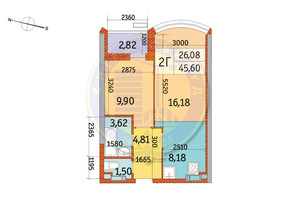 ЖК Курнатовського: планування 2-кімнатної квартири 45.6 м²
