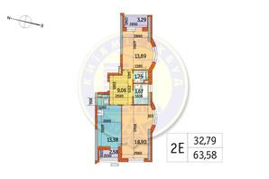 ЖК Курнатовського: планування 2-кімнатної квартири 63.58 м²