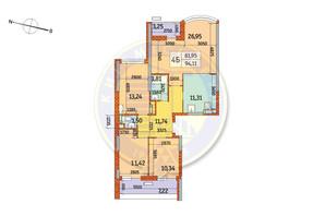 ЖК Курнатовського: планування 4-кімнатної квартири 94.11 м²