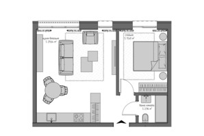 ЖК Квадрат: планировка 1-комнатной квартиры 44 м²