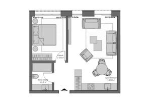 ЖК Квадрат: планировка 1-комнатной квартиры 46.1 м²