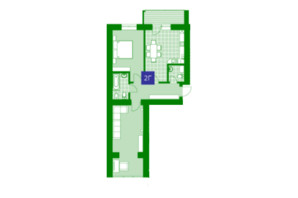 ЖК Квартал Парковый: планировка 2-комнатной квартиры 61.9 м²