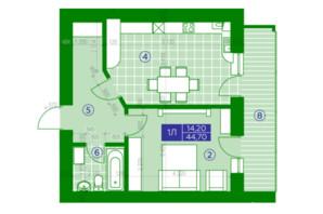 ЖК Квартал Парковый: планировка 1-комнатной квартиры 44.7 м²