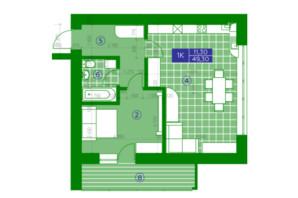 ЖК Квартал Парковый: планировка 1-комнатной квартиры 49.3 м²
