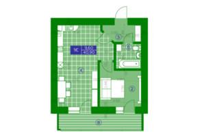 ЖК Квартал Парковый: планировка 1-комнатной квартиры 40.9 м²