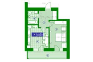ЖК Квартал Парковый: планировка 1-комнатной квартиры 40.4 м²