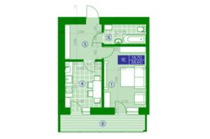 ЖК Квартал Парковый: планировка 1-комнатной квартиры 38.6 м²