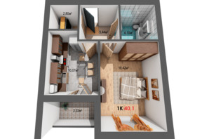 ЖК Квартал Венский: планировка 1-комнатной квартиры 40.1 м²