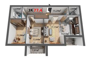 ЖК Квартал Венский: планировка 3-комнатной квартиры 77.4 м²