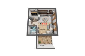 ЖК Квартал Венский: планировка 1-комнатной квартиры 41.1 м²