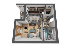 ЖК Квартал Венский: планировка 1-комнатной квартиры 38.2 м²