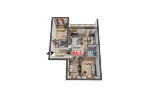 ЖК Квартал Венский: планировка 4-комнатной квартиры 88.5 м²