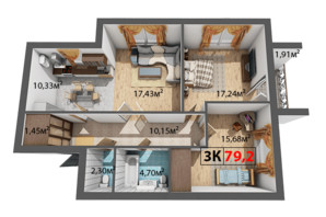 ЖК Квартал Венский: планировка 3-комнатной квартиры 79.2 м²
