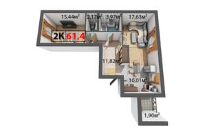 ЖК Квартал Венский: планировка 2-комнатной квартиры 61.4 м²