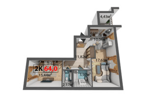 ЖК Квартал Венский: планировка 2-комнатной квартиры 64 м²