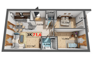 ЖК Квартал Венский: планировка 3-комнатной квартиры 71.6 м²