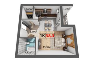 ЖК Квартал Венский: планировка 1-комнатной квартиры 38.3 м²