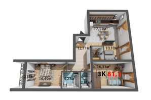ЖК Квартал Венский: планировка 3-комнатной квартиры 81.1 м²