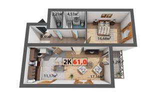 ЖК Квартал Венский: планировка 2-комнатной квартиры 61 м²