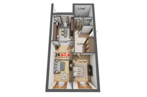 ЖК Квартал Венский: планировка 2-комнатной квартиры 67.6 м²