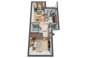 ЖК Квартал Венский: планировка 2-комнатной квартиры 61.7 м²