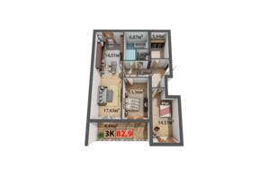 ЖК Квартал Венский: планировка 3-комнатной квартиры 82.9 м²