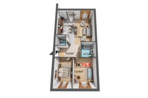 ЖК Квартал Венский: планировка 3-комнатной квартиры 73.3 м²
