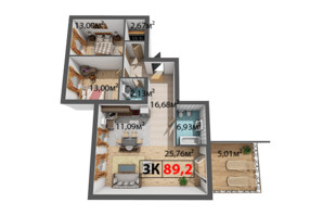 ЖК Квартал Венский: планировка 3-комнатной квартиры 89.2 м²
