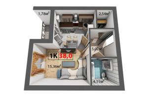 ЖК Квартал Венский: планировка 1-комнатной квартиры 38 м²