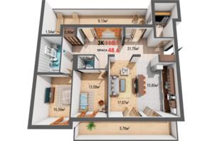 ЖК Квартал Віденський: планування 3-кімнатної квартири 110.1 м²