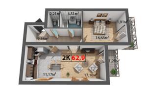ЖК Квартал Віденський: планування 2-кімнатної квартири 62.9 м²