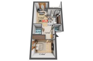 ЖК Квартал Віденський: планування 2-кімнатної квартири 61.7 м²