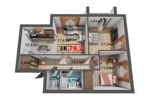 ЖК Квартал Віденський: планування 3-кімнатної квартири 79.2 м²