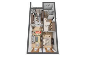 ЖК Квартал Віденський: планування 2-кімнатної квартири 67.6 м²
