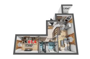 ЖК Квартал Віденський: планування 2-кімнатної квартири 61.4 м²