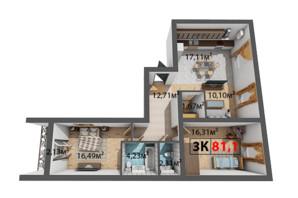 ЖК Квартал Віденський: планування 3-кімнатної квартири 81.1 м²
