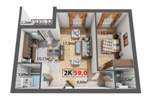 ЖК Квартал Віденський: планування 2-кімнатної квартири 59 м²