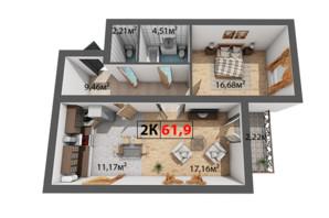 ЖК Квартал Віденський: планування 2-кімнатної квартири 61.9 м²