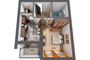 ЖК Квартал Віденський: планировка 1-комнатной квартиры 39.8 м²