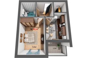 ЖК Квартал Віденський: планировка 1-комнатной квартиры 40.4 м²