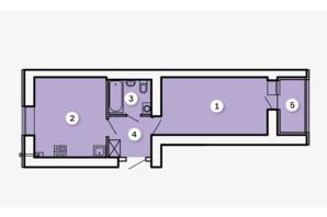 ЖК Kvartal: планировка 1-комнатной квартиры 43.32 м²