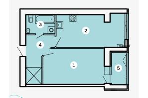 ЖК Kvartal: планировка 1-комнатной квартиры 48.79 м²